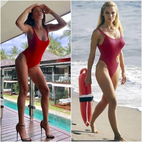 Облачившаяся в красный купальник Настасья Самбурская спародировала Памелу Андресон в сериале «Спасатели Малибу»
