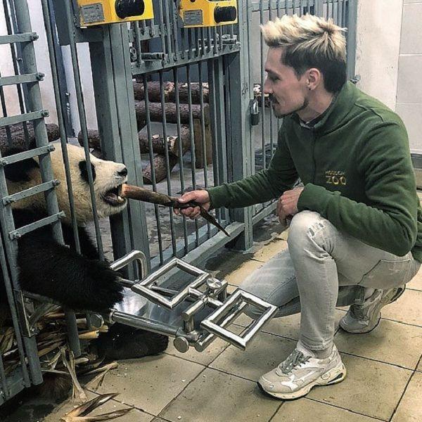 Дима Билан принял участие в тренинге панд в Московском зоопарке